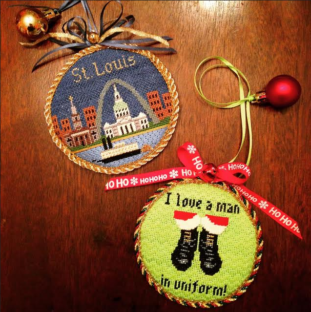 Christmas needlepoint ornaments for James