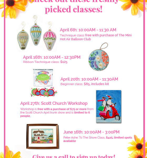 April Classes at Needlepoint.Com